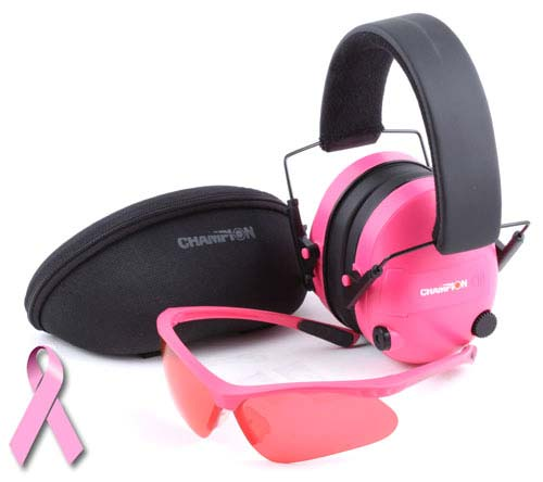 Champion electronic ear muffs amp shooting glasses pink package